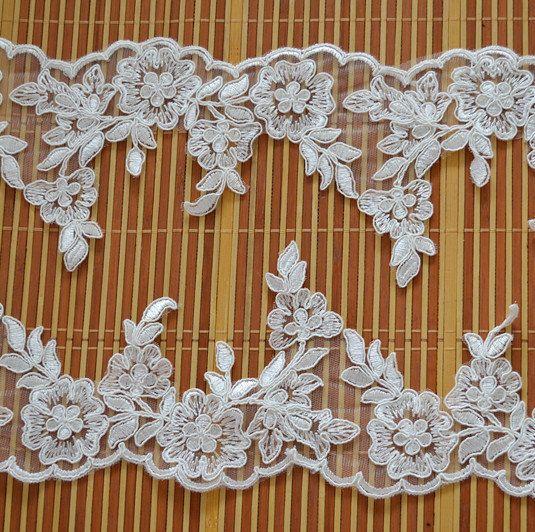 ivory alencon lace trimwedding veil lace trim  bridal by lacetime, $5.99