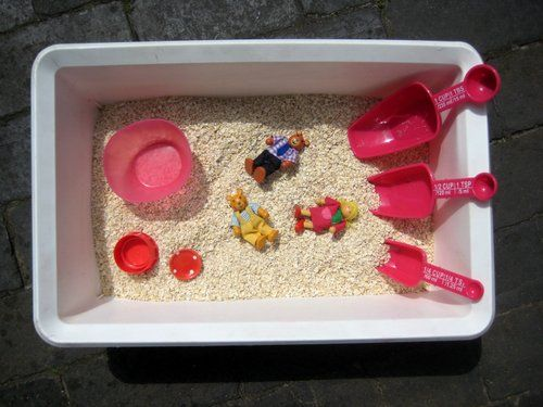 many sensory tubs - but this one for Three Bears story telling is my favourite