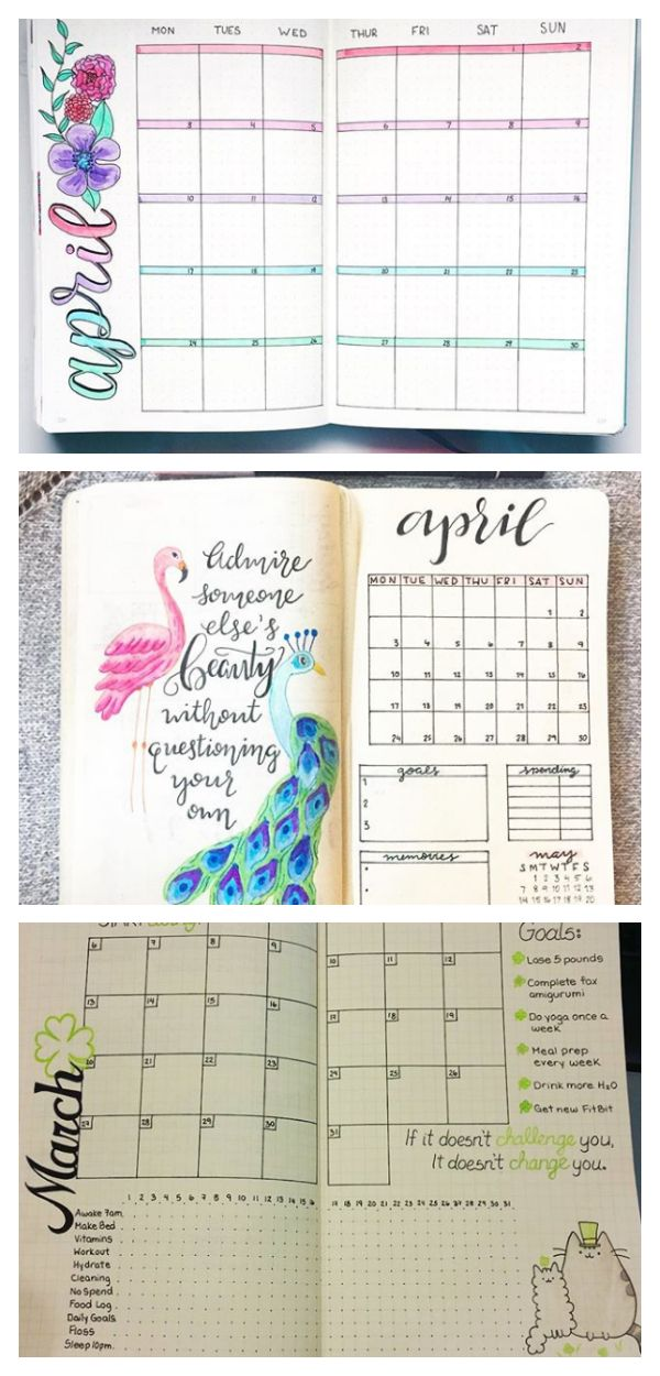 15 Monthly Spreads for your Bullet Journal