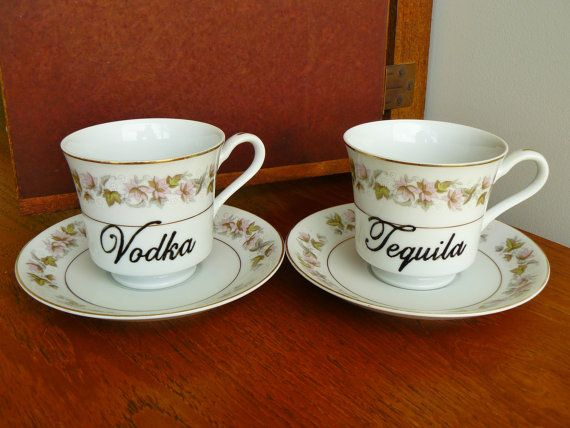 Vodka Tequila hand painted vintage china cup by trixiedelicious