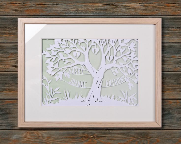 Family Tree - Framed personalised paper cut art (Medium 42x32 cm) by wallaceimagery on Etsy https://www.etsy.com/uk/listing/398189579/family-tree-framed-personalised-paper