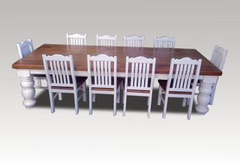 Oreg Dining Table Thick Leg with Chairs All you need to seat 10 people comfortabily.