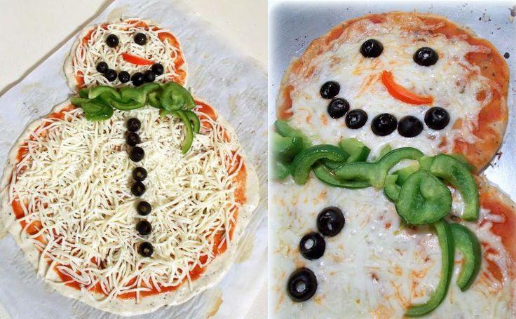 Snowman Pizza | Creative Food Ideas | Pinterest