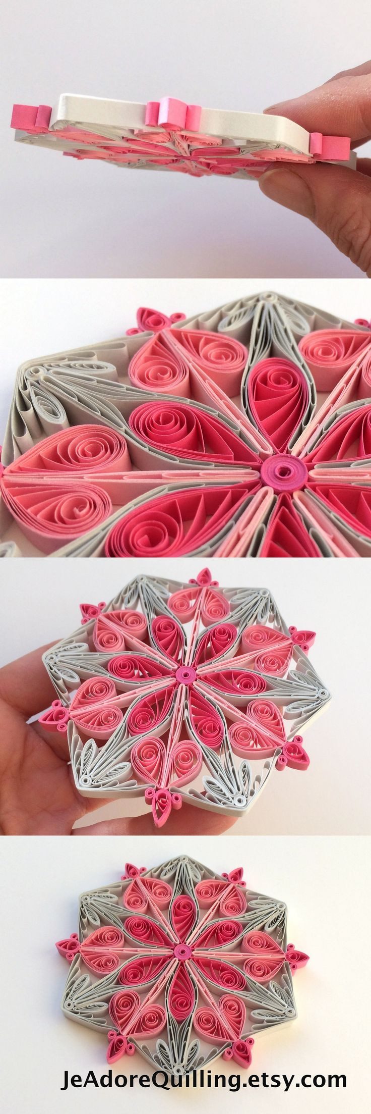 Snowflake Pink Gray Christmas Tree Decoration Winter Ornaments Gifts Toppers Fillers Office Corporate Paper Quilling Handmade Quilled Art