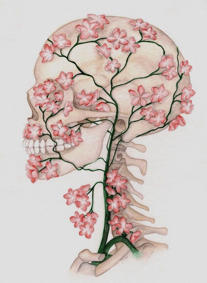 Cherry blossom Flower Skull drawing by Tina from Germany, skull designs at skullspiration.com