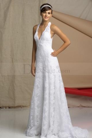 Great Clingy Halter Informal Wedding Dress with Ravishing Lace Motif Detail