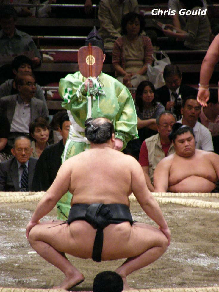 Balding sumo wrestler Kitazakura notches up another impressive win in May 2008, and receives the official victory call from the fan-wielding referee.