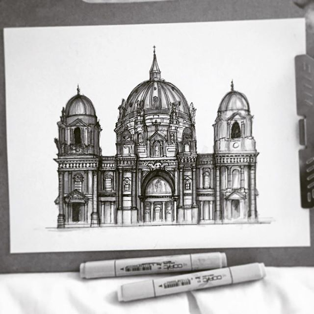 [Work in progress] Current status of Berlin Cathedral sketch in fineliner and marker. A tower, shadows and some microdetails left