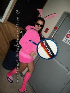 Awesome and Easy Homemade Energizer Bunny Costume for a Woman… Enter Coolest Halloween Costume Contest at http://ideas.coolest-homemade-costumes.com/submit/