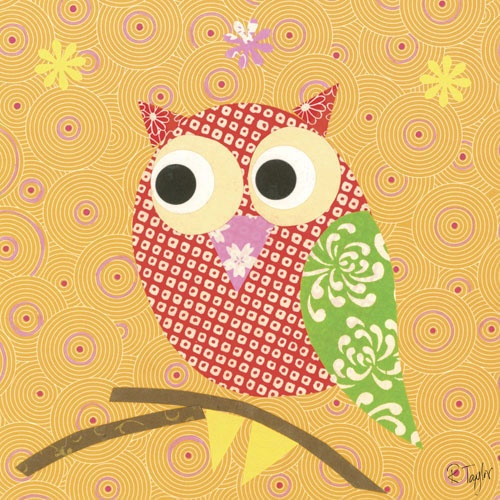 Mod Owl can be made from fabrics or wallpaper samples.