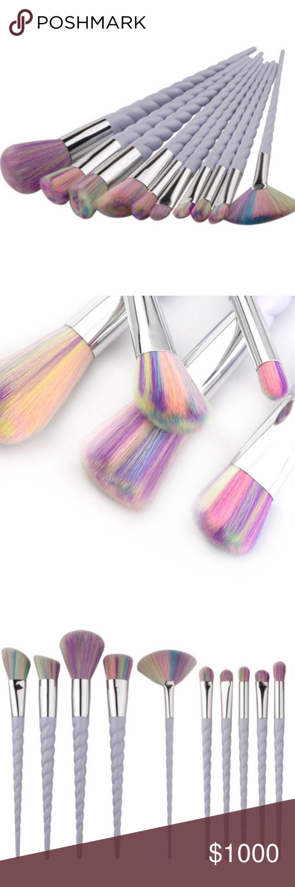 Coming soon! Unicorn makeup brush set Unicorn makeup brush set, 10 brushes per set. Multicolor brush with unicorn shape light purple handle. Great quality. Angled brush, foundation brush, highlighter fan brush, eyeshadow brush, contour brush. Rainbow unicorn style set. Comment below and I will tag you when they arrive :) these are no brand but work well with MAC cosmetics when paired with their makeup products. Price will be $50 approx when these arrive. $5 per brush MAC Cosmetics Makeup…