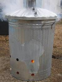 smoke firing your clay pot in a dustbin