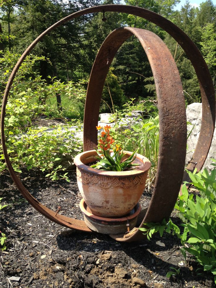 Garden Art Upcycled Old Cart Wheel Bands Haven Garden