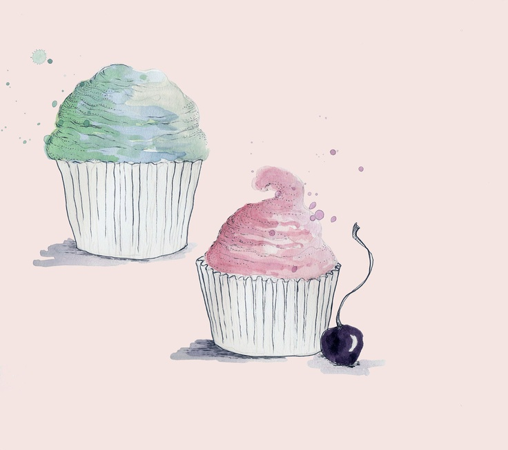 Cute Cupcakes with Cherry Illustration. $12,00, via Etsy.