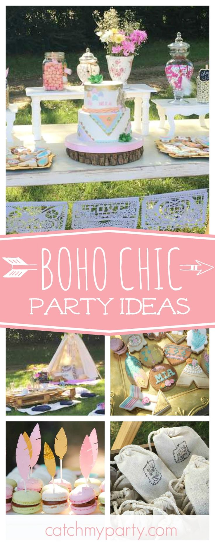 Don't miss this beautiful boho chic birthday party. The outdoor table settings and tents are fantastic!! See more party ideas and share yours at CatchMyParty.com