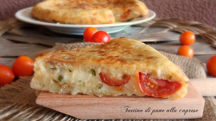 Tortino+di+pane+alla+caprese,cottura+in+padella