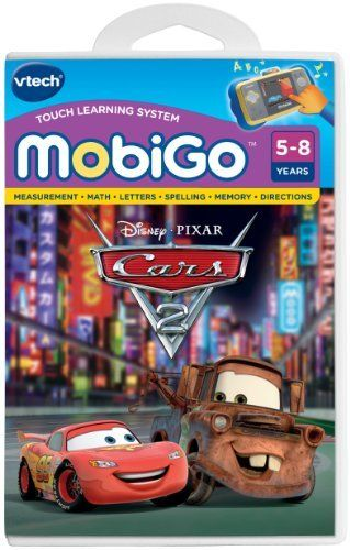 """VTech - MobiGo Software - Disney's Cars - Cars 2 by V Tech. $13.49. Teaches math, logic, spelling, vocabulary. Based on the upcoming pixar movie, """"Cars 2"""". Includes five mini-games that use the touch screen and keyboard. Action-packed storyline that revolves around racing and spy-thriller suspense. Popular cast of characters games features Mater and Lightning McQueen as well as a new character, Finn McMissile. From the Manufacturer                When Mater meets a my..."""