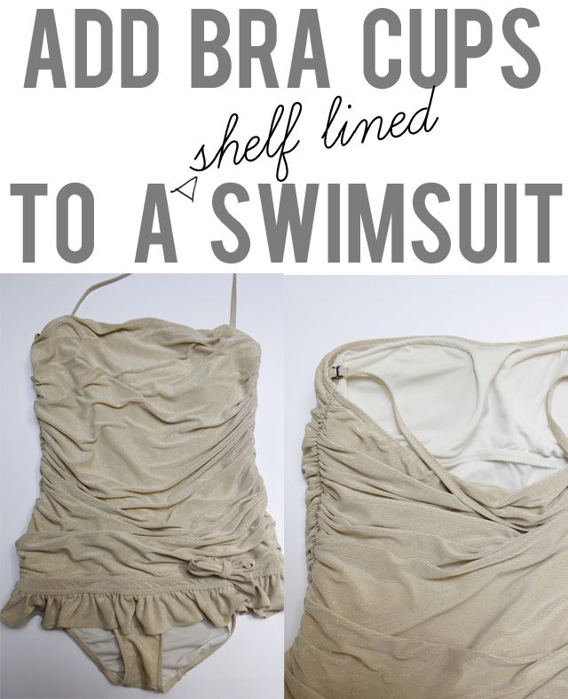 DIY Salvaging a Stretched Out Bathing Suit with Bra Cups Tutorial by see kate sew. This will work with any shelf lined swimsuit (or strapless dress, etc…)