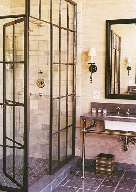 bathroom--love the idea of framed patio doors and the industrial elements.