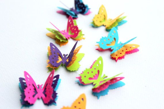 Multicolor Butterflies, Table decor, Butterfly Confetti, Wedding Confetti, 3d butterfly decor, 3d butterfly wall art, butterfly party decor