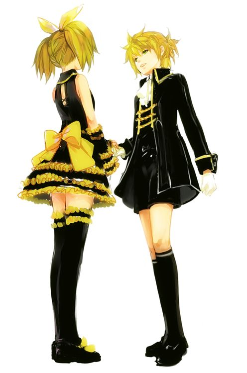Kagamine Rin Len. I think this is the outfit they wear ...