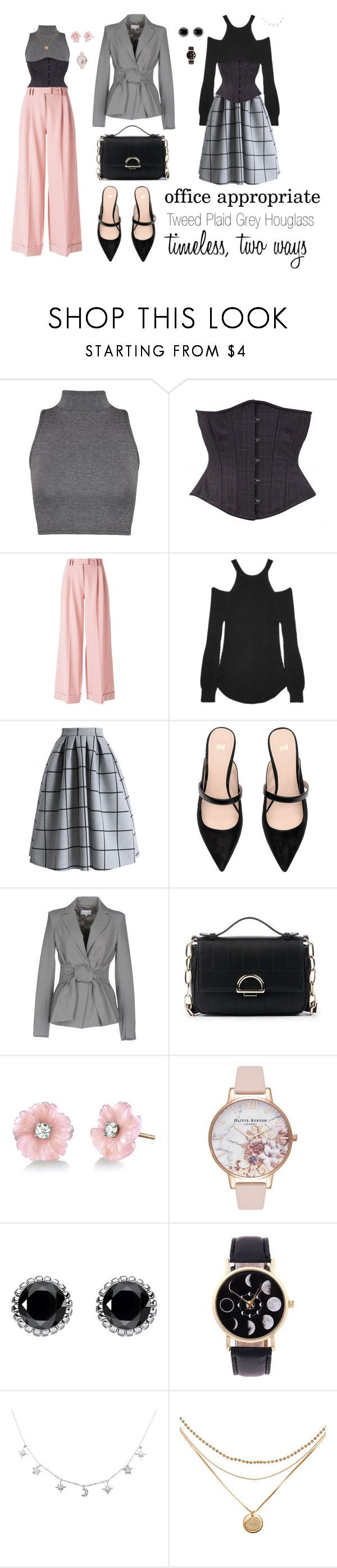 """Office Attire with the Tweed Plaid Grey Hourglass"" by timeless-trends on Polyvore featuring WearAll, VIVETTA, Splendid, Chicwish, Patrizia Pepe, Sole Society, Irene Neuwirth, Olivia Burton and Thomas Sabo"
