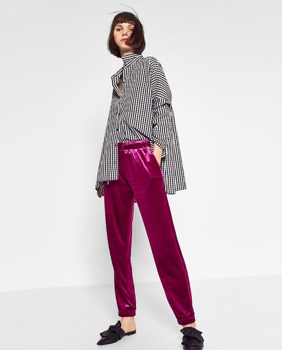 Image 1 of VELVET JOGGING TROUSERS from Zara