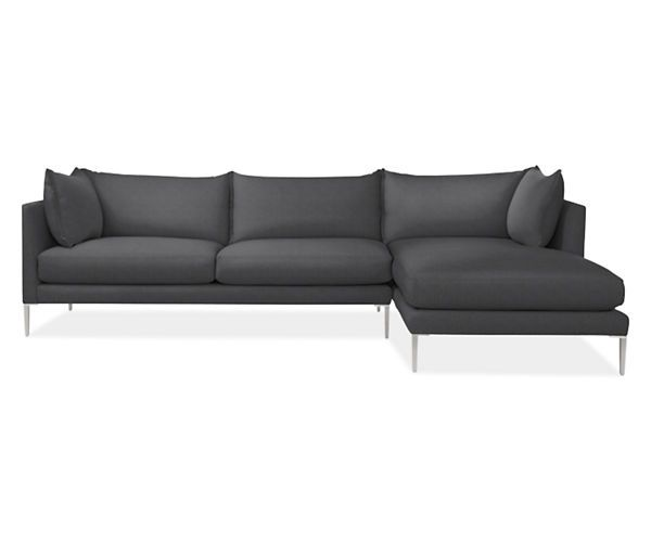 "Room & Board - Vela 115"" x 66"" Sofa with Right-Arm Chaise -- $4100 -- spring cushions w/ down"