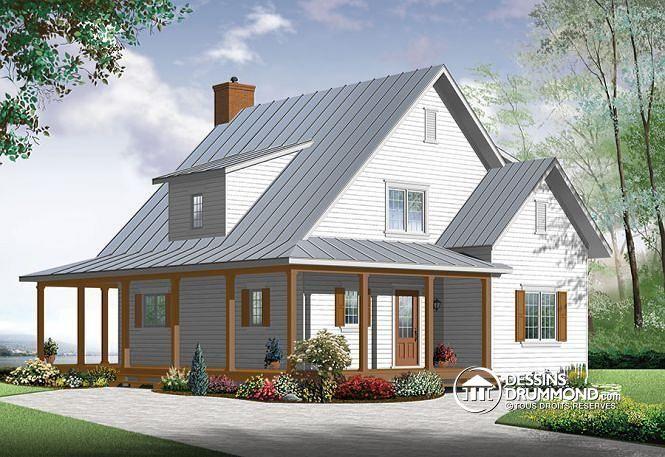 Vue avant Maison de style fermette, farmhouse américaine, 3 à 4 chambres, à aire ouverte, abordable, foyer double face - La Bastide 2