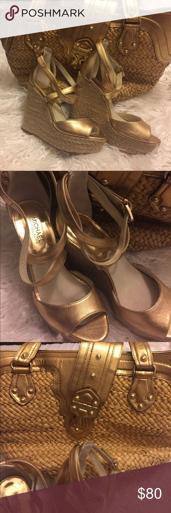 Michael Kors Gold wedge heels and MK beach bag Michael Kors gold wedge shoes and matching Michael Kors gold beach bag. Selling together because they are fabulous paired. Wore the shoes once and they are too high for me. Both gently used. $45 for the shoes and $35 for the bag! Together $80 which is way less than I paid for just one of them. Enjoy! Xox KORS Michael Kors Shoes Wedges