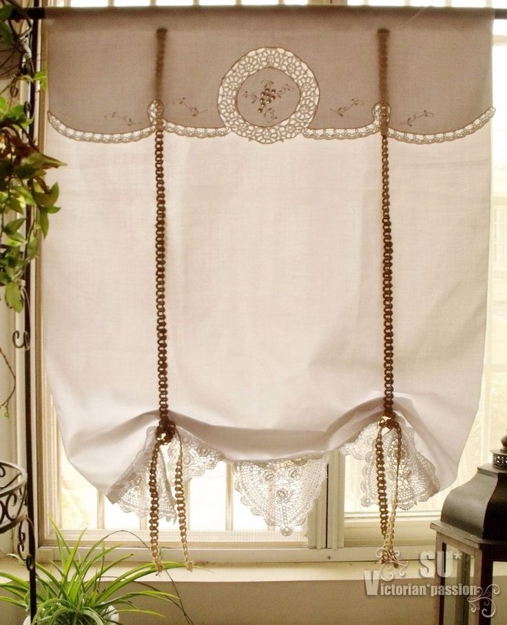 French Country Vtg Tatted Lace Tie Up Valance Curtain Roller Shade G White Ebay