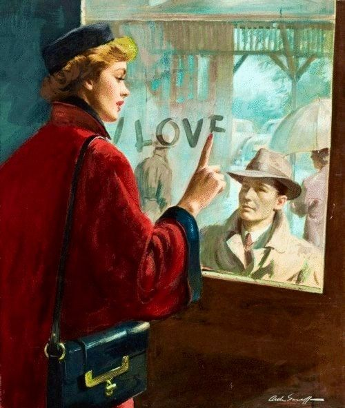 24X30 Canvas Valentine Sale I LOVE YOU  1940s Retro Romance love story cover illustration Romantic Pinup Vintage Dress Hat
