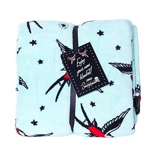 Sour Puss in Aqua Blue with Swallows Rockabilly Blanket Fleece Blanket Printed, http://www.amazon.co.uk/dp/B00KDKMAAU/ref=cm_sw_r_pi_awdl_R3g3vb1VAHNDC