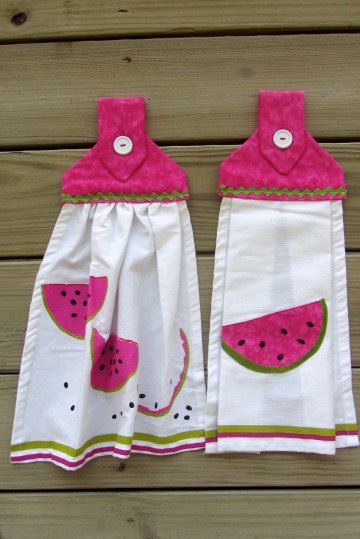 Set of 2 Watermelon Hanging Kitchen Towels by ChrystiCorner, $19.50