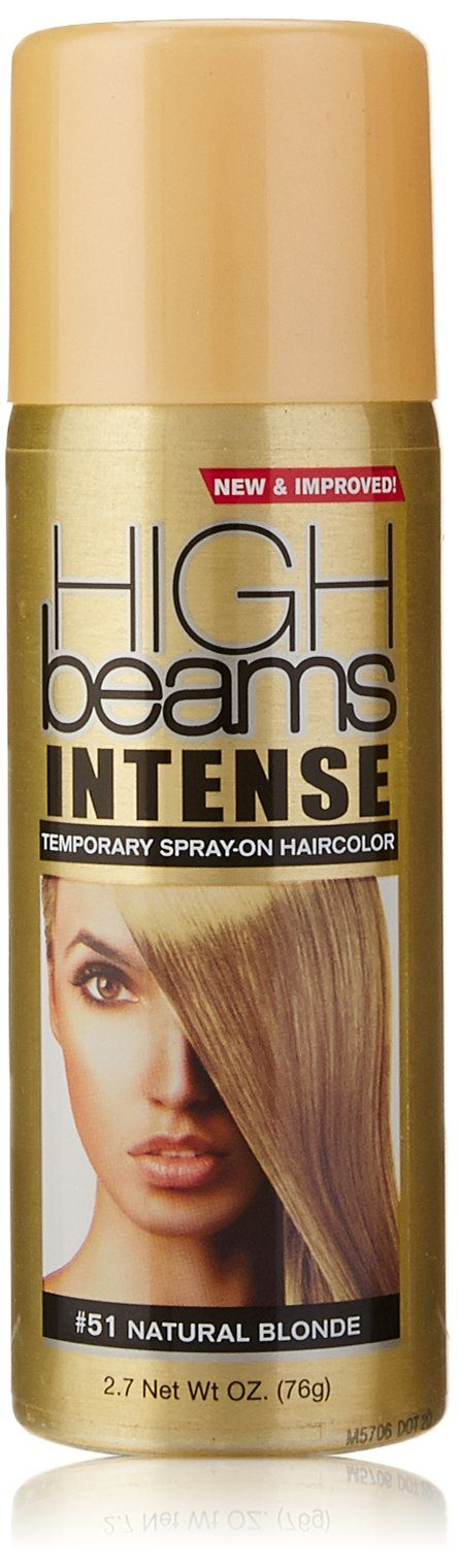 high beams Intense Temporary Spray on Hair Color, Natural Blonde, 2.7 Ounce. Add pizzazz to any hair design. It's the perfect tool for adding subtle color highlights or for making a bold statement. High beams intense washes away with just one shampooing, with no risk of damaging your hair color; Get ready to turn on the creativity with high beams intense temporary spray-on hair color.