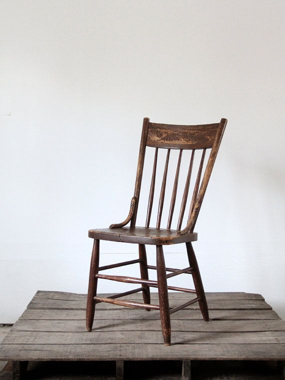 Free Ship Antique Wood Chair / Pressed Back Spindle Chair