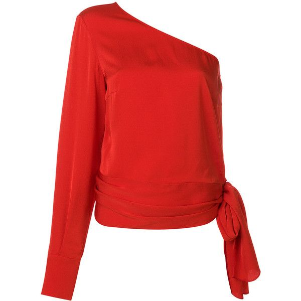 Stella McCartney one shoulder cady blouse ($810) ❤ liked on Polyvore featuring tops, blouses, red, draped blouse, one sleeve top, long sleeve tops, red one shoulder top and red blouse