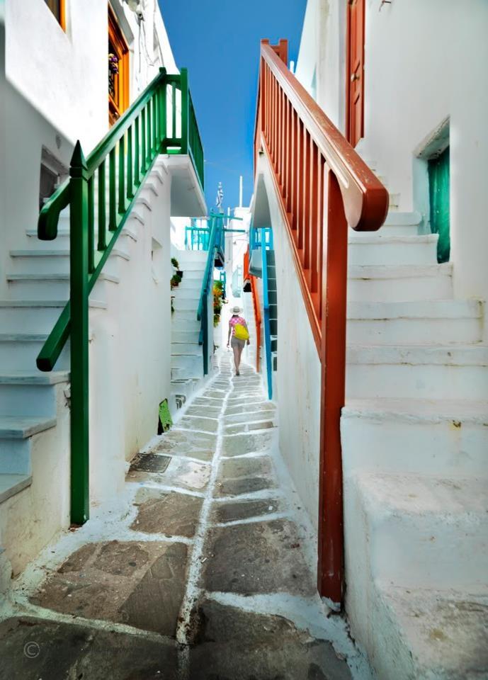 Mykonos streets, Greece.