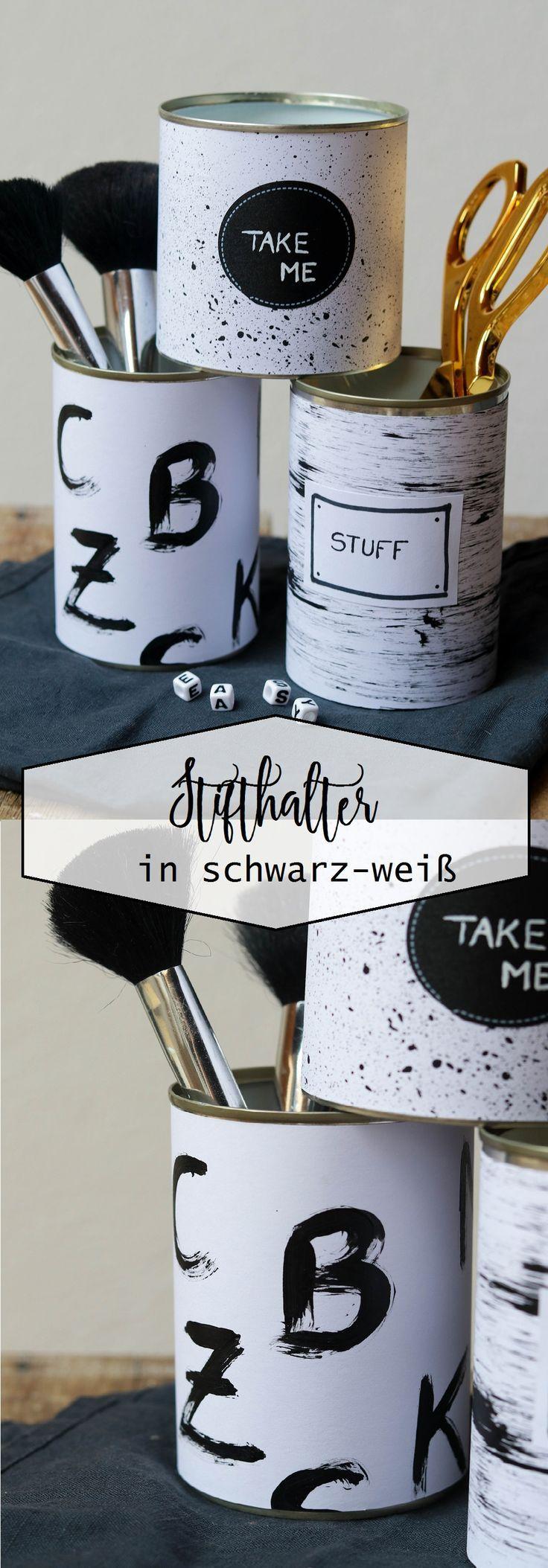 Stifthalter / Utensil in schwarz und weiß  #schwarz #stifthalter #utensil