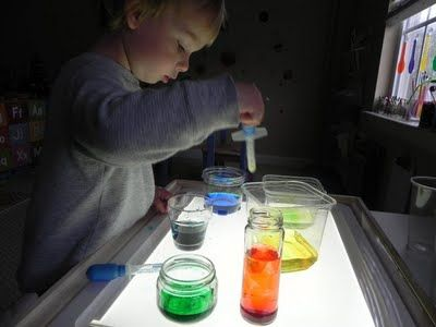 """learning colors"" science experiment.  Materials: droppers, clear containers, food coloring, white paper.  Good for: fine motor skills, following directions, color mixing, creating budding scientists :)"