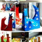 Cardboad Box HENS, craft, children, paper, #knutselen, kinderen, basisschool, kip van kartonnen doos, papiermaché, Pasen