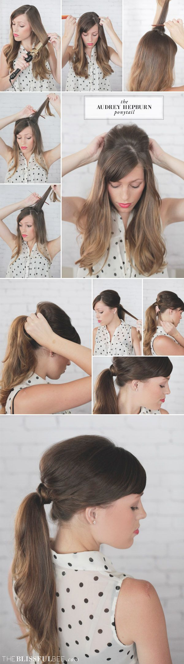 The Audrey Hepburn Inspired Ponytail via The Blissful Bee