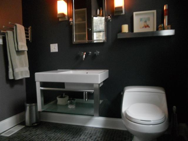 restructure by amphora   Hastings sink, Rohl faucet, Kohler toilet, slate floor