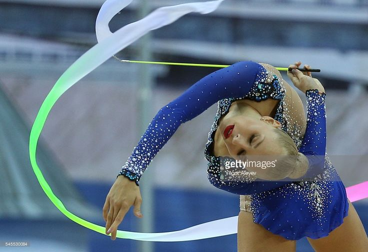 Russian rhythmic gymnast Yana Kudryavtseva performs her ribbon routine during the Individual All-Around event at the 2016 FIG Rhythmic Gymnastics World Cup, at the Gymnastics Center in Kazan. Yegor Aleyev/TASS