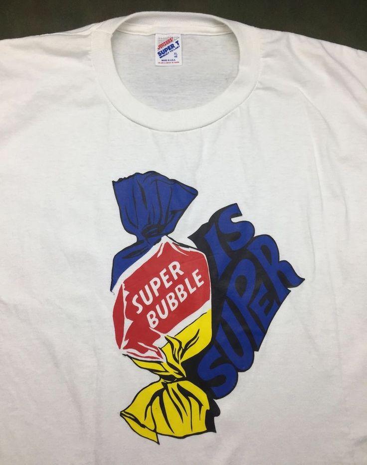 Vintage Mens XL 90s Super Bubble Gum Candy Graphic White T-Shirt #JERZEES #GraphicTee