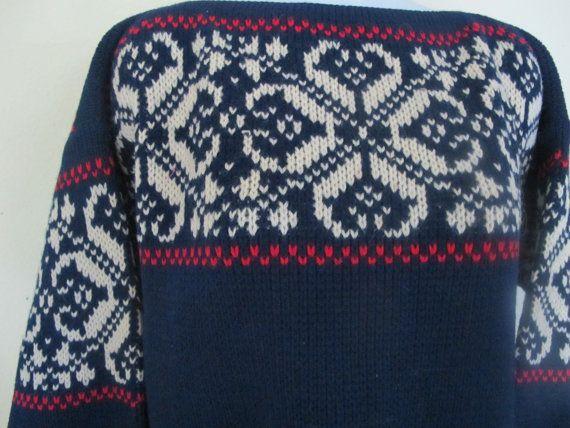 Vintage Norway Ski Sweater 1950's Blue Ski by BelindasStyleShop