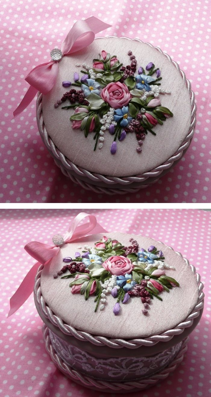 Sweet idea for gift or trinket box - love the pretty ribbonwork! :)