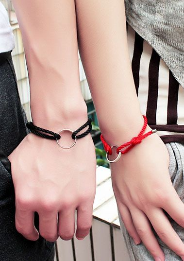 Matching Couple Bracelets, Cotton Rope + Titanium Steel, His and Her Jewelry Gift by iDream Jewelry
