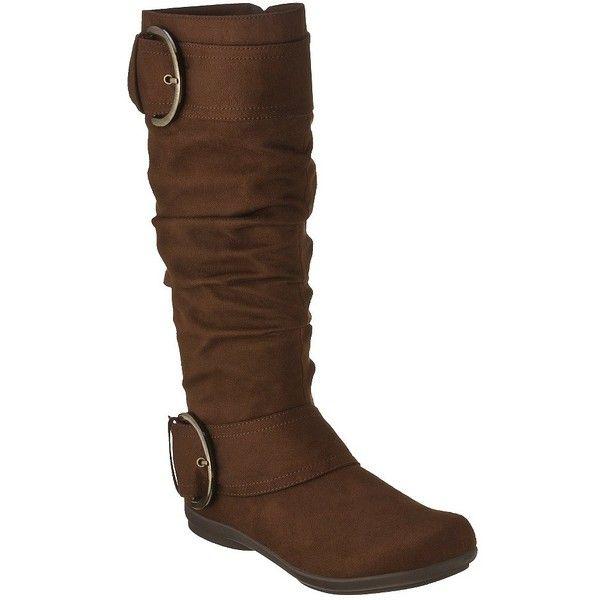 Women's Merona® Macha Flat Boot - Brown ($35) ❤ liked on Polyvore