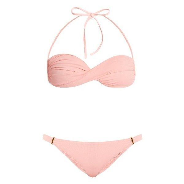 Melissa Odabash Martinique bandeau bikini ($193) ❤ liked on Polyvore featuring swimwear, bikinis, light pink, halter-neck bikinis, padded halter bikini, padded bandeau bikini, halter bikini swimwear and halter bikini